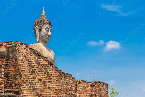Spoed canvasdoek 2cm dik Boeddha old buddha statue standing tall behind ruined temple wall in Ayudhaya, Thailand