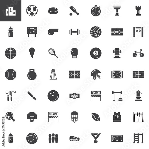 Sports equipment vector icons set, modern solid symbol collection, filled pictogram pack. Signs, logo illustration. Set includes icons as podium, football, dumbbell, volleyball, basketball