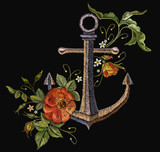 Anchor and red roses embroidery. Classical fashionable embroidery vintage anchor, beautiful red bouquets of roses template for clothes, textile t-shirt design