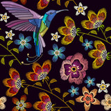 Humming bird and flowers embroidery seamless pattern. Template for clothes, textiles, t-shirt design. Beautiful hummingbirds and spring flowers embroidery on black background - 174901775