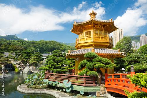 The Golden Pavilion in Nan Lian Garden at in Chi Lin Nunnery, Hong Kong Poster