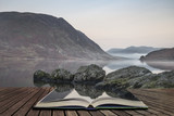 Stunning Winter foggy sunrise on Crummock Water in Lake District England concept coming out of pages in open book - 174907570