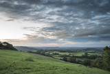 Beautiful dawn landscape over Somerset Levels in English countryside - 174908360