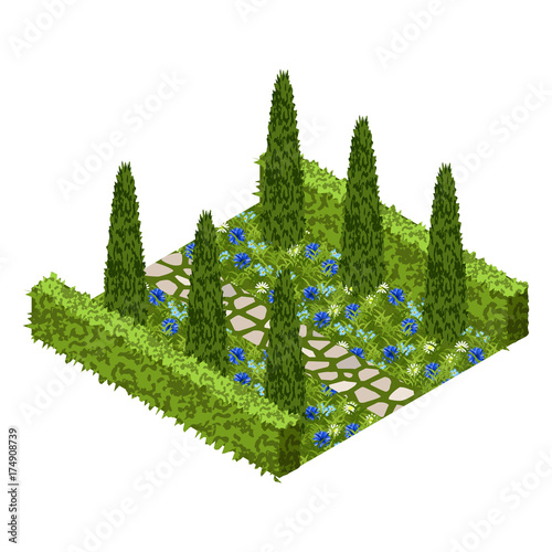 Fotobehang Boerderij Garden vector asset with topiary bushes, flowers, grass and paved walk way