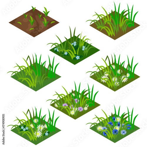 Aluminium Boerderij Garden or farm isometric tile set