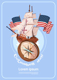 Happy Columbus Day America Discover Holiday Poster Greeting Card Flat Vector Illustration - 174913756
