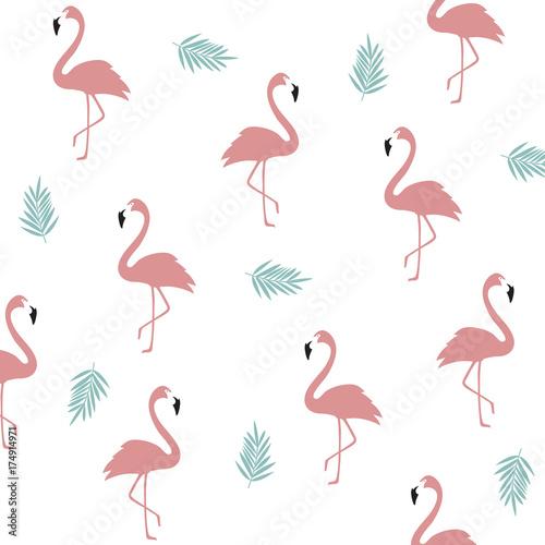 Fototapeta Seamless flamingo pattern background. Flamingo poster design. Wallpaper, invitation cards, textile print vector illustration design