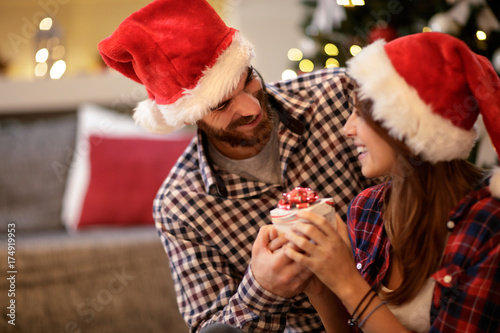 Female and male celebrate Christmas