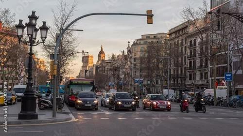 Time laps video. Traffic flow on Gracia street, Barcelona, Spain