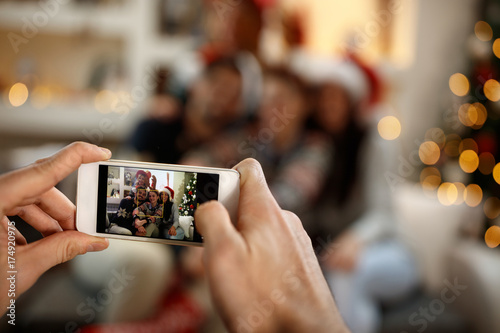 Cell phone screen with made photos