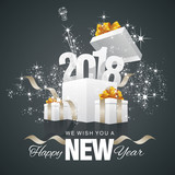 Fototapety Happy New Year 2018 firework box black background