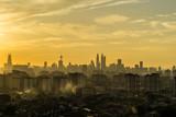 Majestic sunset over silhouette of downtown Kuala Lumpur, Malaysia