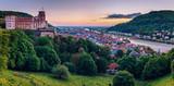 Heidelberg town with the famous old bridge and Heidelberg castle, Heidelberg, Germany - 174927104
