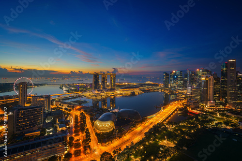 Cityscape of Singapore city sunrise Poster