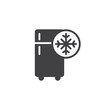 Freezer cold icon vector, filled flat sign, solid pictogram isolated on white. Refrigerator and snowflake symbol, logo illustration.