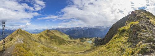 Foto op Aluminium Panoramafoto s Panorama of Fellhorn Mountain Ridge and Lake Schlappold/ Bavaria