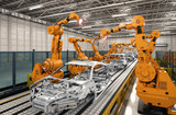 robot assembly line in car factory - 174943598