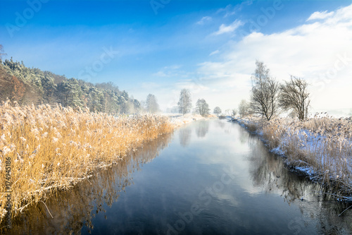 Aluminium Lente Landscape of river in winter or during spring thaws