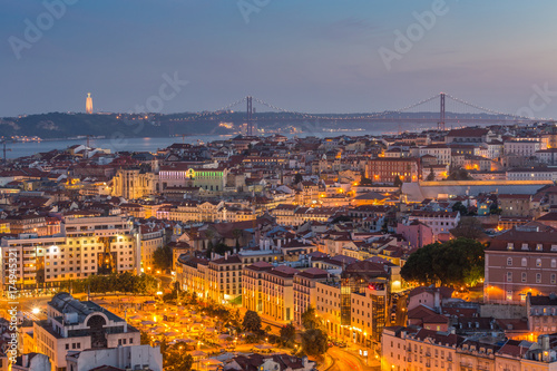 In de dag Barcelona Lisbon city panorama skyline twilight ,Portugal