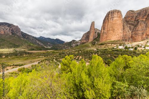 Foto op Canvas Pistache the Mallos de Riglos, in the province of Aragon in Spain