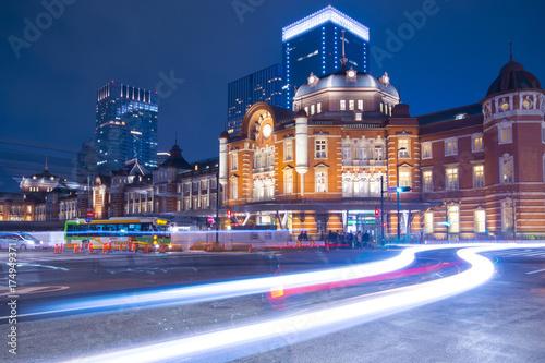 Tokyo railway station abstract light trials background. Poster