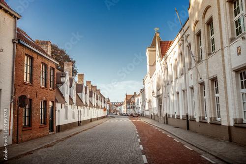 Deurstickers Brugge Street of Brugge, Belgium