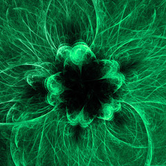 Green abstract fractal background, computer generated graphic