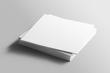 Blank square photorealistic brochure mockup on light grey background.  - 174953177