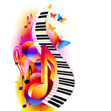 Fototapety Colorful 3d music notes with piano keyboard and butterfly. Music background for poster, brochure, banner, flyer, concert, music festival