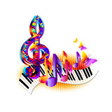 Colorful 3d music notes with piano keyboard, treble clef and butterfly. Music background for poster, brochure, banner, flyer, concert, music festival  - 174954131