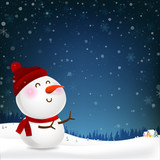Snowman cartoon smile and blank copy space falling snow in the winter night backgroud vector illustration 001