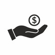 Money in hand. Vector icon.