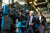 Portrait of senior businessman or executive manager wearing hardhat touring modern factory with young assistant - 174956930