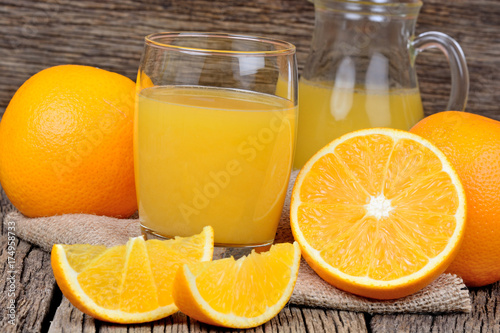 Staande foto Sap Orange juice in a glass and pitcher on table