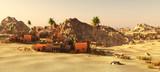 Arabic community on wasteland, 3d rendering - 174960964