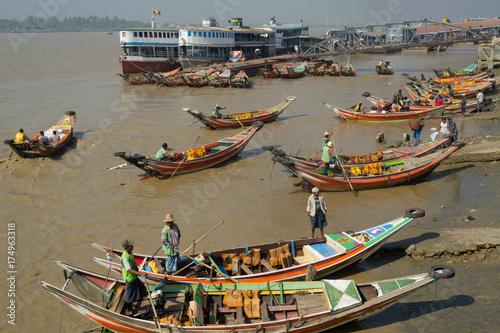 Myanmar Yangon river boats Poster