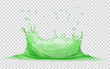 Transparent water crown with water drops. Splash of water in green colors, isolated on transparent background. Transparency only in vector file