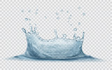 Transparent water crown with water drops. Splash of water in gray colors, isolated on transparent background. Transparency only in vector file - 174969126