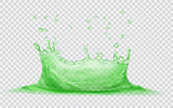 Transparent water crown with water drops. Splash of water in green colors, isolated on transparent background. Transparency only in vector file - 174969127