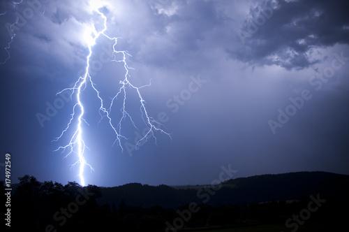 Leinwanddruck Bild lightning storm