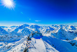 Winter panorama landscape from Mont Fort and famous Matterhorn, Dent d'Herens, Dents de Bouquetins, Weisshorn; Tete Blanche in the background, Verbier, 4 Valleys, - 174972764