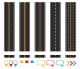 Roads. Set of seamless highways, brush templates and marking design elements. - 174972900