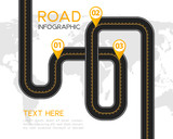 Road or highway infographic with location marking design elements. - 174972925