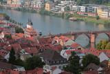 Tile roofs, bridge and river. Heidelberg, Germany - 174974101