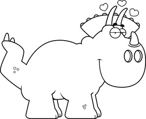 Cartoon Triceratops in Love
