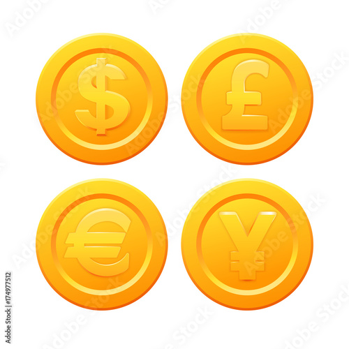 Set Of Stylized Golden Coin With Currency Symbols Dollar Euro