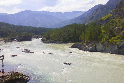 Fotobehang Bergrivier Very beautiful mountain river Katun. Russia, Siberia, the Altai Mountains