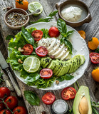 Vegetarian salad with mozzarella and avocado - 174979779