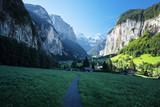 Lauterbrunnen and Swiss Alps in the background, Berner Oberland, Switzerland - 174979918