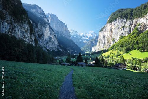 Lauterbrunnen and Swiss Alps in the background, Berner Oberland, Switzerland